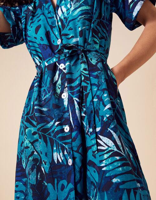 Palm Print Shirt Dress in LENZING™ ECOVERO™, Blue (BLUE), large