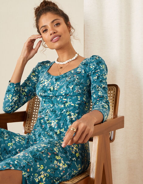 Amanza Ditsy Floral Jersey Dress Teal, Teal (TEAL), large