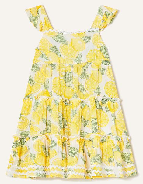 Baby Lemon Print Dress Yellow, Yellow (YELLOW), large