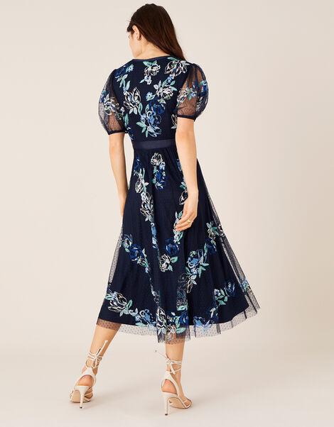 Oma Embroidered Midi Dress Blue, Blue (NAVY), large