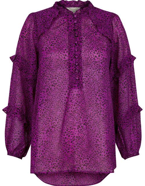 Animal Print Dipped Hem Blouse, Purple (PURPLE), large