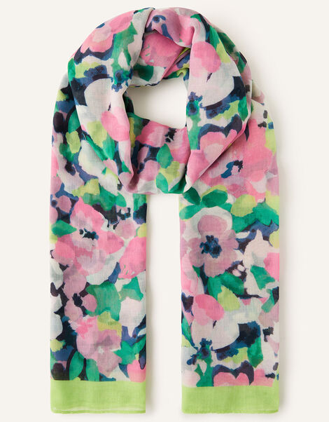 Floral Print Lightweight Scarf, , large