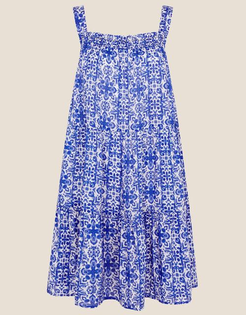 Zuri Printed Dress in LENZING™ ECOVERO™, Blue (BLUE), large