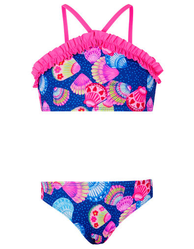 Shell Print Frill Bikini Set Blue, Blue (NAVY), large