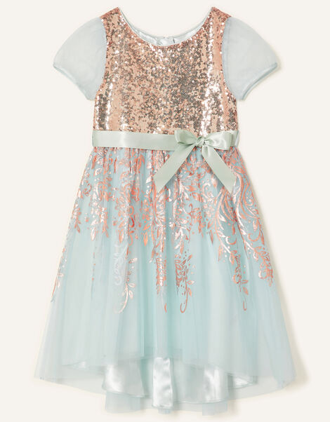 Sequin Foil Print Dress  Teal, Teal (DUCK EGG), large