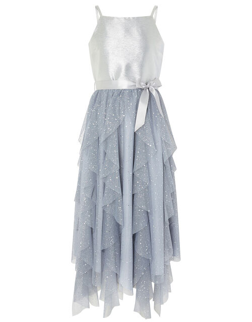 Ruffle Maxi Prom Dress, Silver (SILVER), large