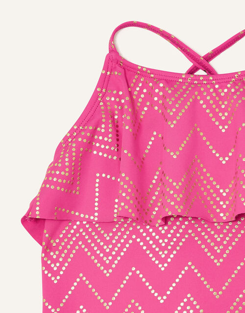 Chevron Frill Swimsuit , Pink (BRIGHT PINK), large