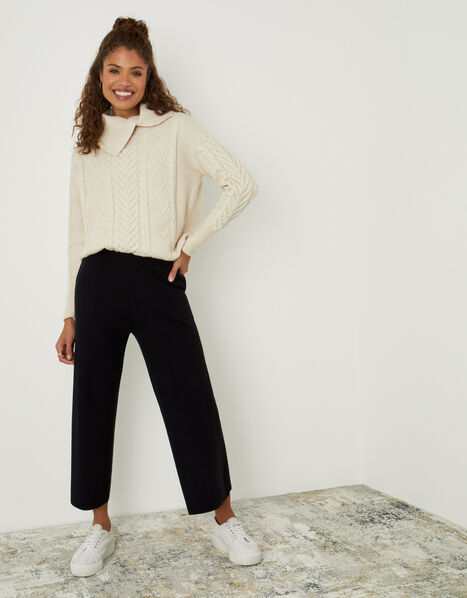 LOUNGE Wide-Leg Trousers with Sustainable Viscose Black, Black (BLACK), large