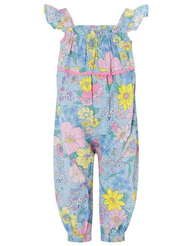 Baby Floral Romper in Pure Cotton Blue, Blue (BLUE), large