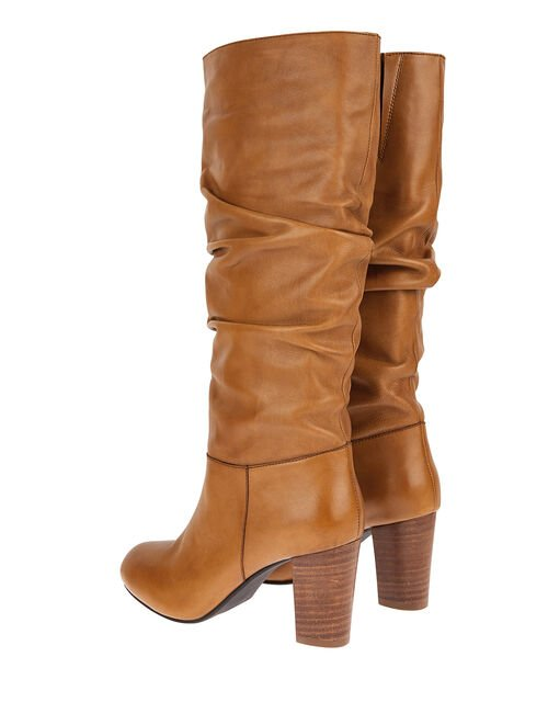 Slouch Leather Long Boots, Tan (TAN), large
