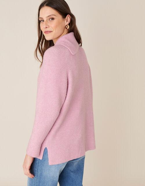 LOUNGE Split Neck Knit Jumper , Pink (PINK), large