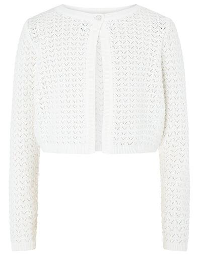Ivory Pebble Knit Cardigan in Organic Cotton Ivory, Ivory (IVORY), large