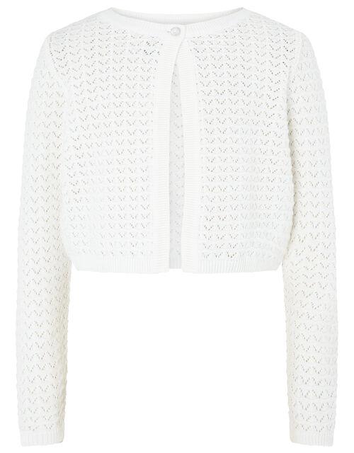 Ivory Pebble Knit Cardigan in Organic Cotton, Ivory (IVORY), large