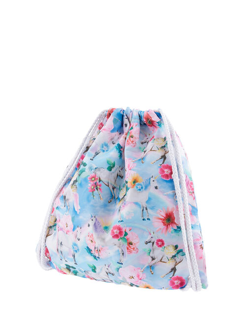 Unicorn Floral Flip Flop and Bag Set, Blue (BLUE), large
