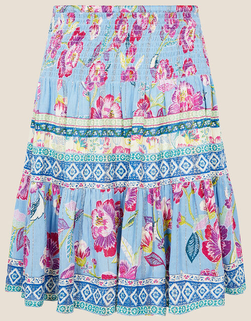Kitty Floral Shirred Skirt, Blue (BLUE), large