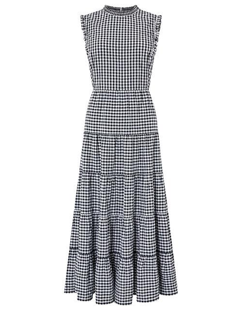Gingham Tiered Midi Dress in Organic Cotton, Black (BLACK), large