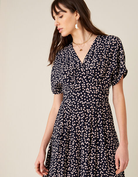 Spot Print Midi Dress Blue, Blue (NAVY), large