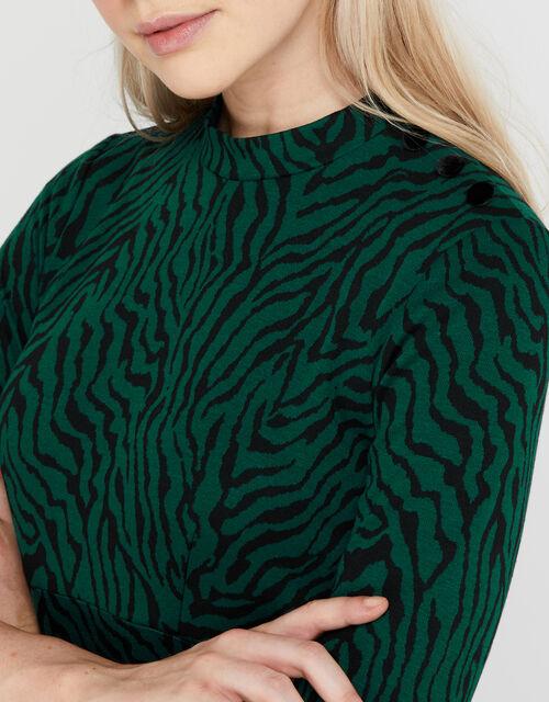 Tiggy Tiger Jacquard Dress, Green (GREEN), large