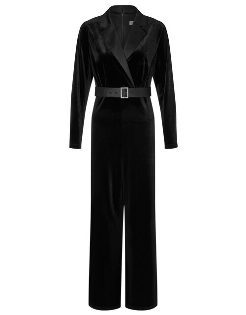 Sheena Stretch Velvet Wide-Leg Jumpsuit, Black (BLACK), large