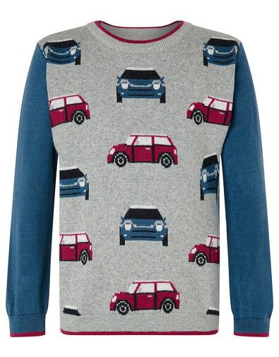Car Knit Jumper Grey, Grey (GREY), large