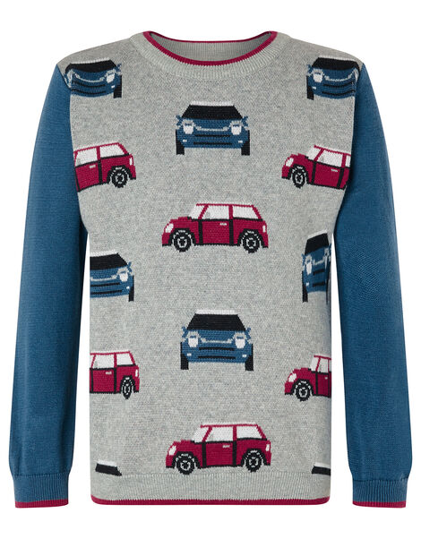 Car Knit Jumper Grey, Grey (GREY), large