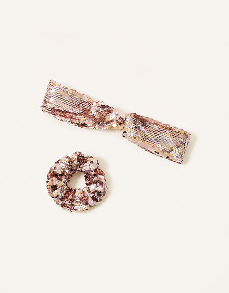 Ombre Sequin Bando and Scrunchie Set , , large