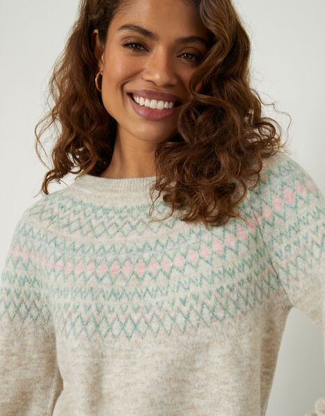 Fairisle Cosy Jumper with Recycled Polyester Natural, Natural (NATURAL), large