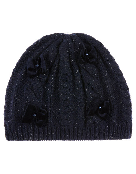Sparkle Bow Knit Beanie with Recycled Fabric Blue, Blue (NAVY), large