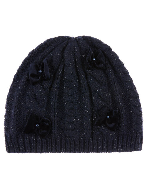 Sparkle Bow Knit Beanie with Recycled Fabric, Blue (NAVY), large