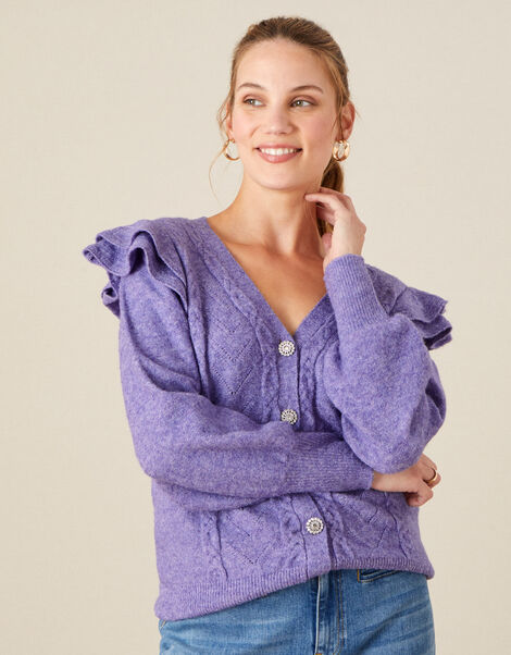 Crystal Button Cable Knit Cardigan Purple, Purple (LILAC), large