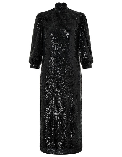 Kalila All-Over Sequin Midi Dress, Black (BLACK), large