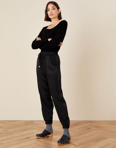Josephine Satin Joggers Black, Black (BLACK), large