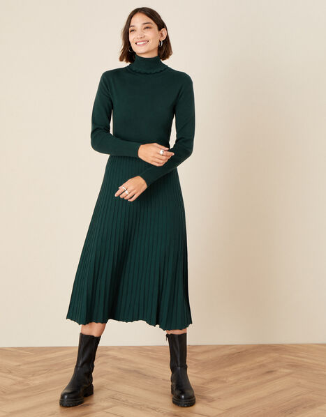 Scallop Roll Neck Dress Green, Green (DARK GREEN), large