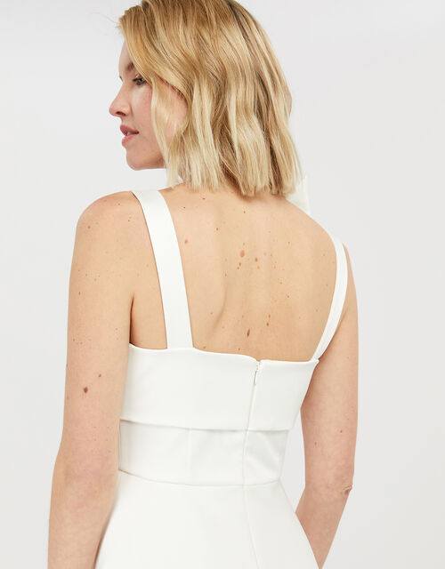 Carrie Bow Satin Midi Bridal Dress, Ivory (IVORY), large