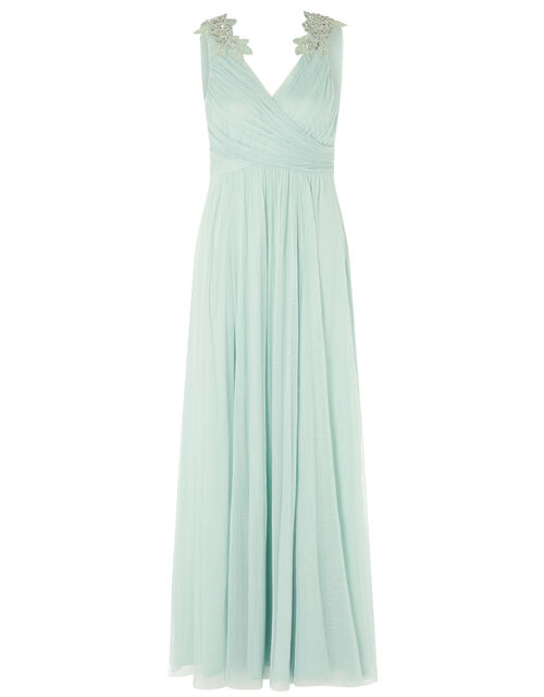 Mischa Embellished Tulle Maxi Dress, Green (GREEN), large