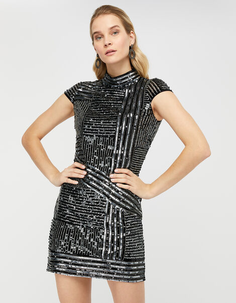 Brienne Linear Embellished Tunic Dress Silver, Silver (SILVER), large