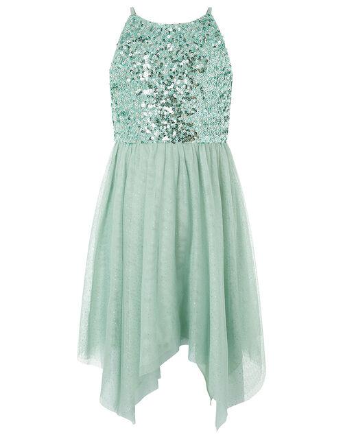 Truth Sequin Sparkle Hanky Hem Dress, Green (GREEN), large