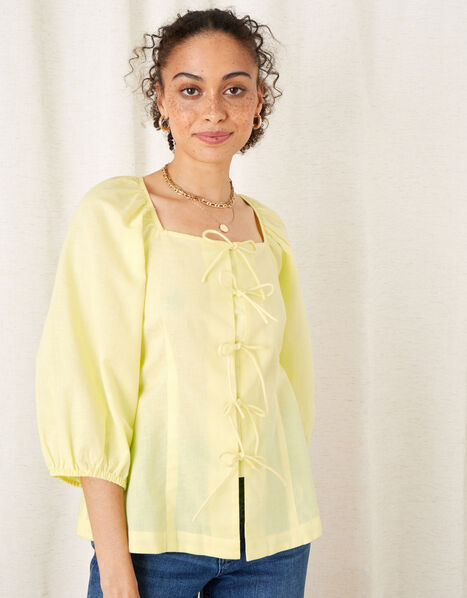Tie Front Blouse in Linen Blend Yellow, Yellow (YELLOW), large