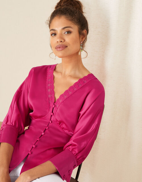 Chelsea Lace Trim Satin Top, Pink (PINK), large