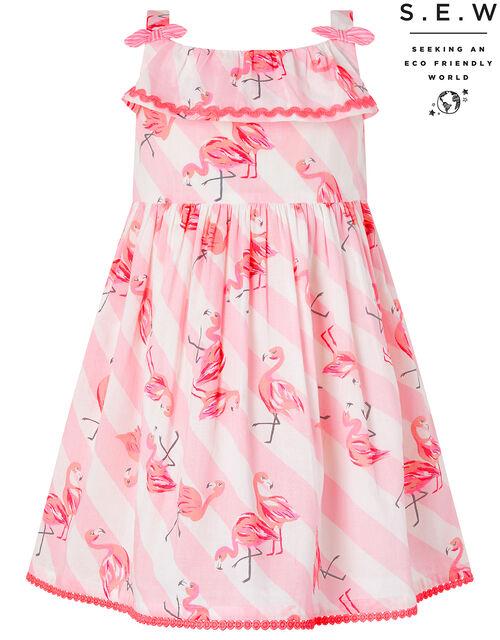 Baby Francine Flamingo Dress in Organic Cotton, Pink (PINK), large