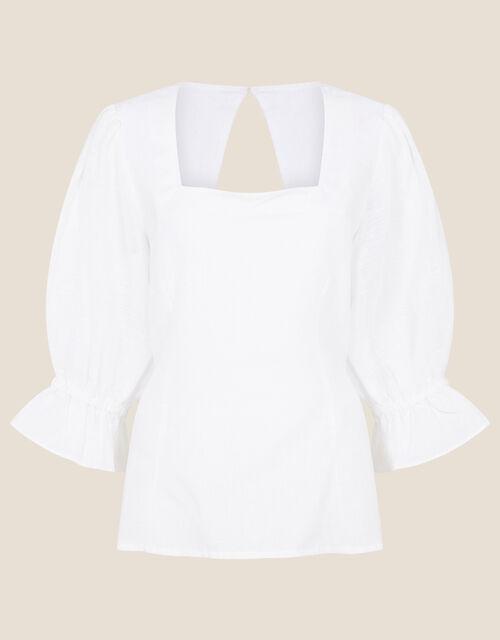 Square Neck Bow Back Blouse, Ivory (IVORY), large