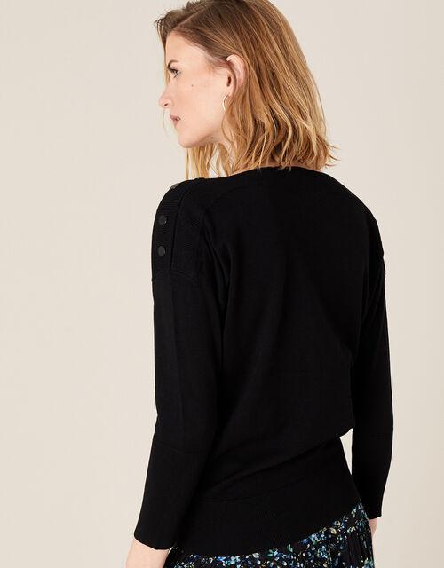 Patsy Popper Knit Jumper with LENZING™ ECOVERO™, Black (BLACK), large