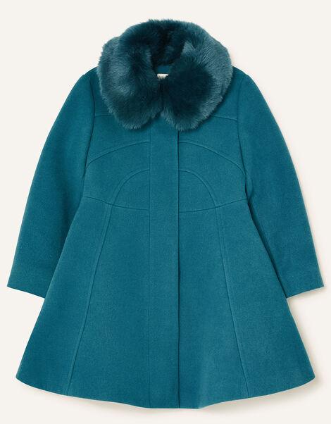 Faux Fur Collar Skirted Coat Teal, Teal (TEAL), large