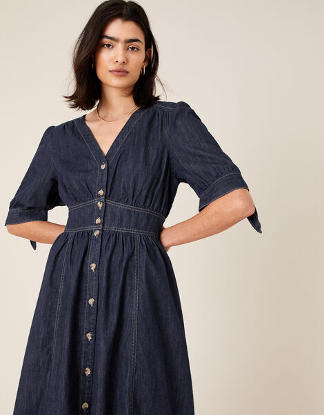 Dolly Denim Dress in Organic Cotton Blue, Blue (INDIGO), large