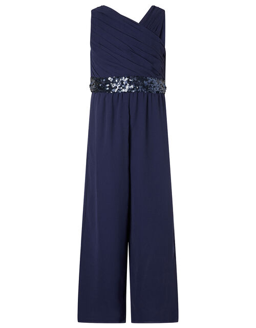 One-Shoulder Sequin Jumpsuit, Blue (NAVY), large