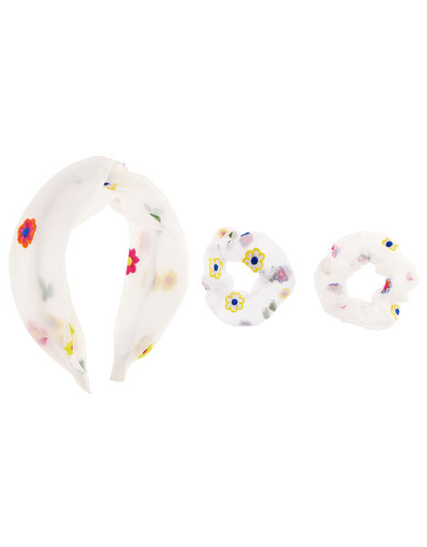 Floral Embroidered Organza Hair Set, , large
