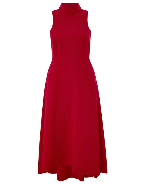 Jade High Neck High-Low Dress, Red, large