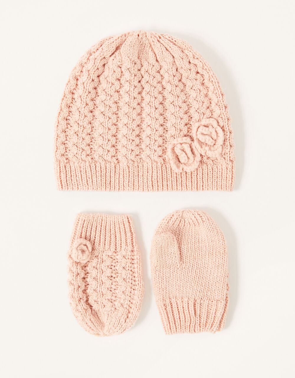 Baby Daisy Hat and Mittens Set, Pink (PINK), large