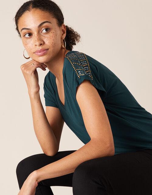 Heat-Seal Gem Jersey T-Shirt, Teal (TEAL), large