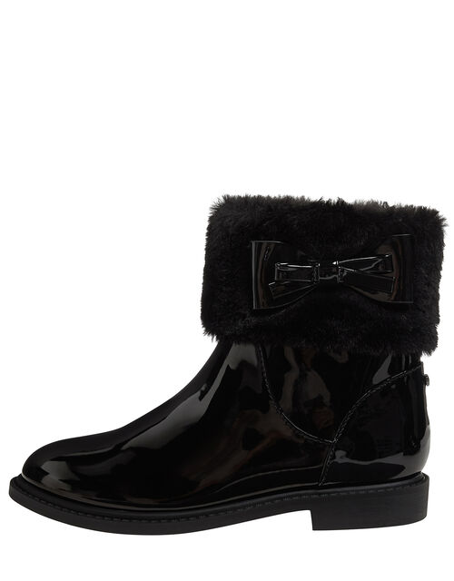 Fluffy Trim Patent Ankle Boots, Black (BLACK), large